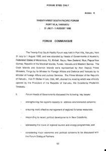 1990 Communique-Port Vila_ Vanuatu 31 Jul-1 Aug