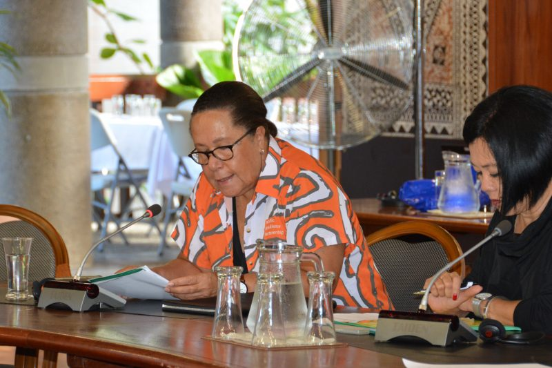 Dame Meg Taylor addressing the first Pacific Resilience Partnership Taskforce meeting.