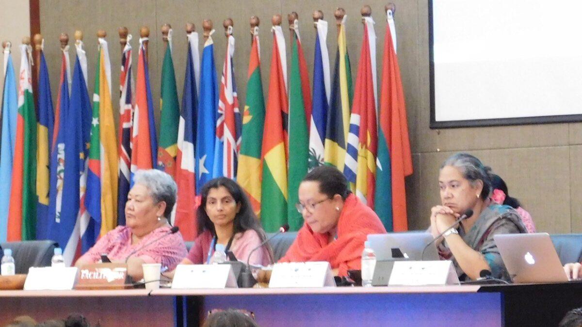 Dame Meg Taylor speaking at SAMOA Pathway meeting