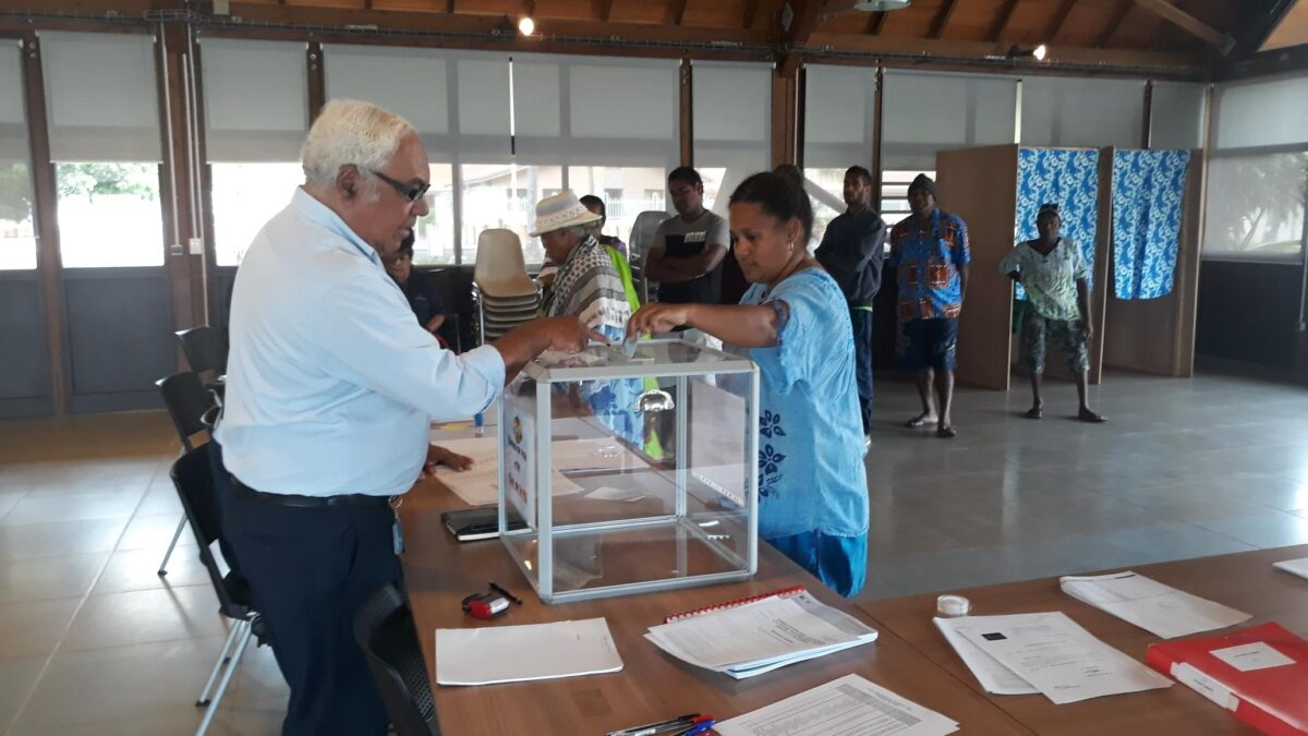 Ballot being cast in New Caledonia Referendum 2018